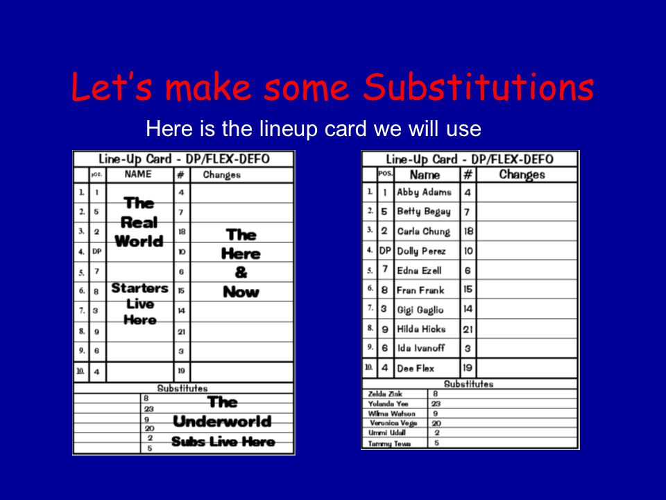 Let's make some Substitutions