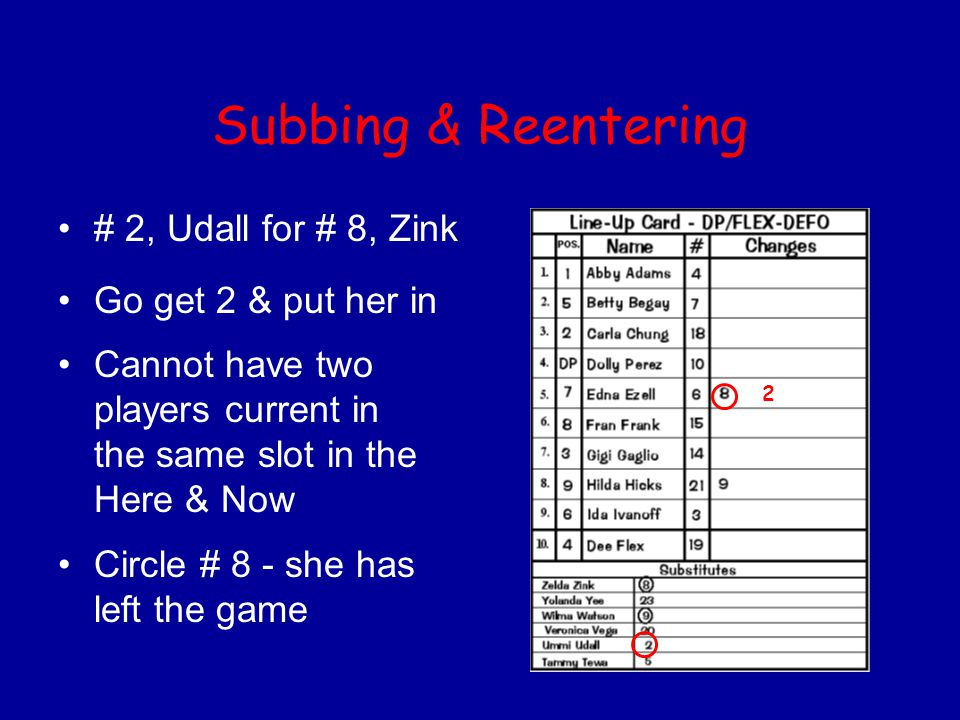 Subbing & Reentering # 2, Udall for # 8, Zink Go get 2 & put her in