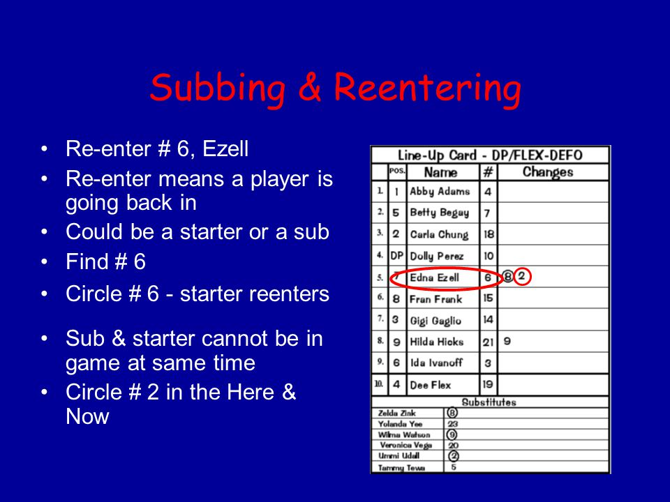 Subbing & Reentering Re-enter # 6, Ezell