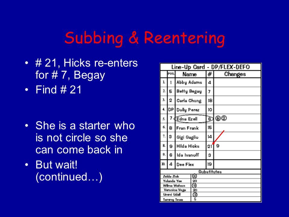 Subbing & Reentering # 21, Hicks re-enters for # 7, Begay Find # 21