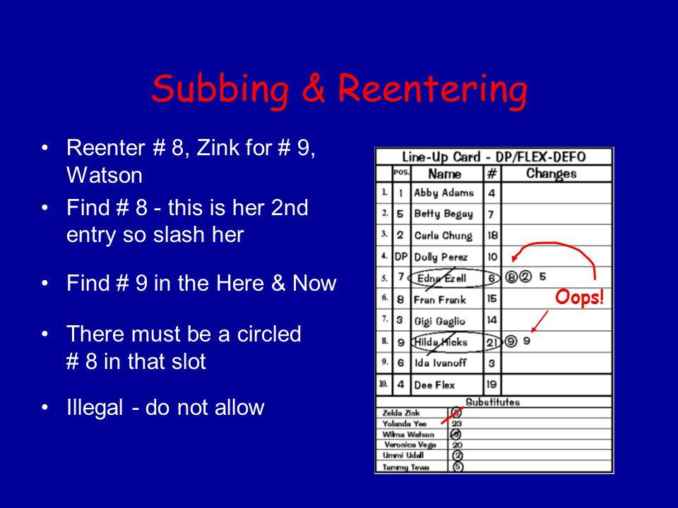 Subbing & Reentering Reenter # 8, Zink for # 9, Watson