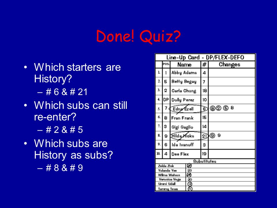 Done! Quiz Which starters are History Which subs can still re-enter
