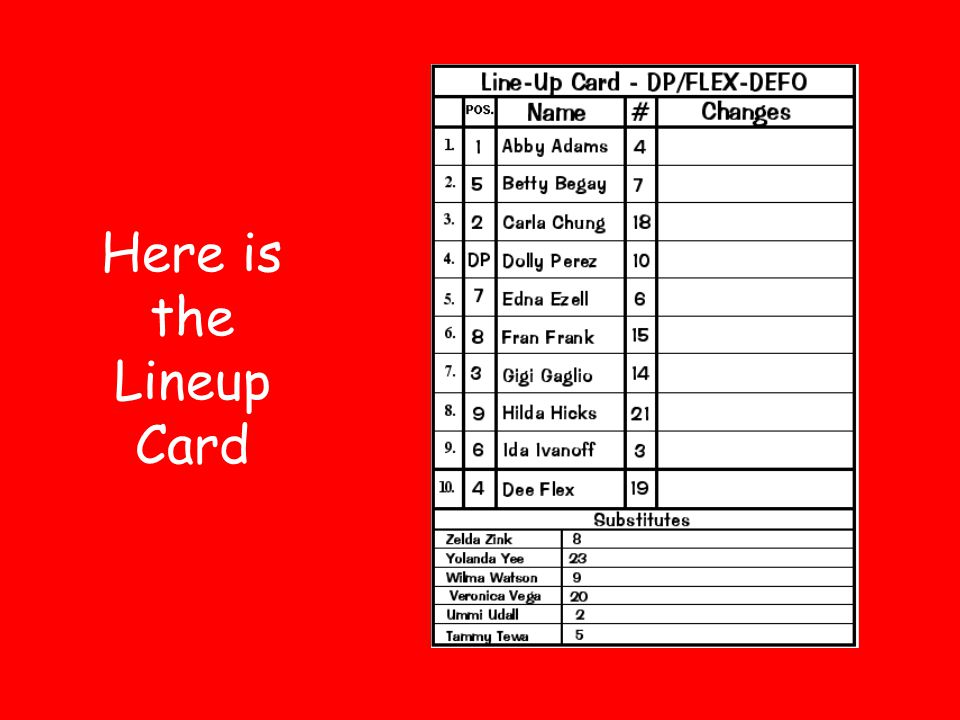 Here is the Lineup Card