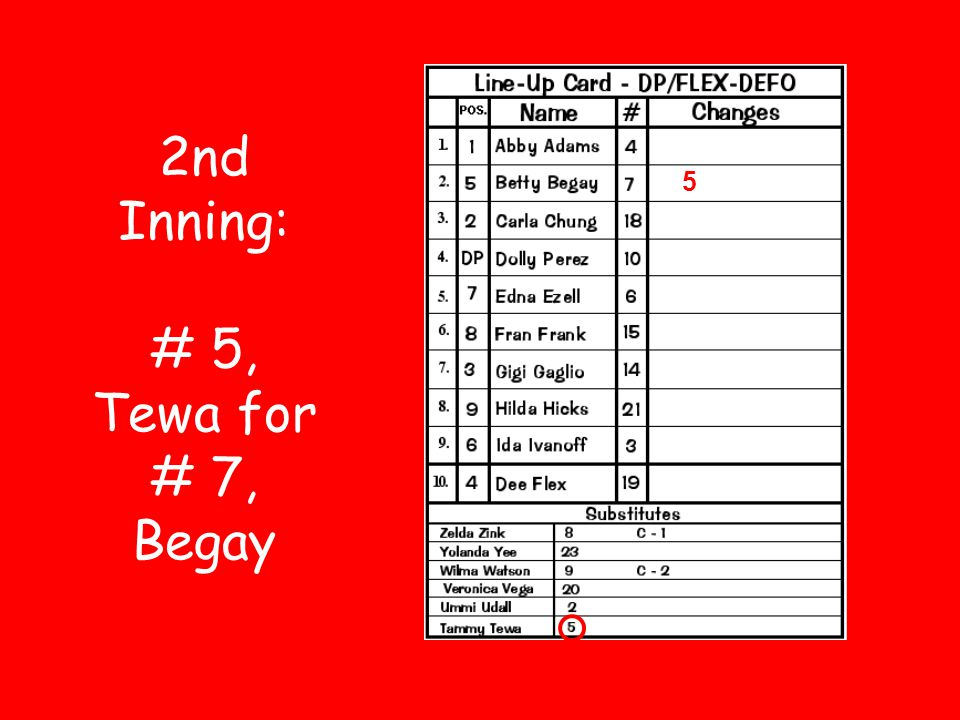 2nd Inning: # 5, Tewa for # 7, Begay