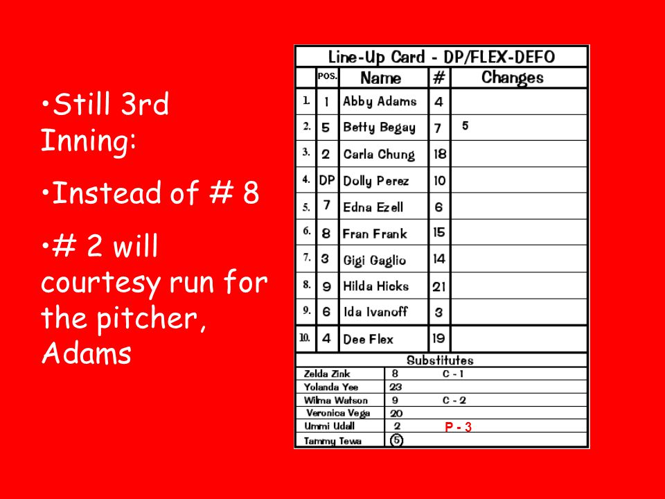 # 2 will courtesy run for the pitcher, Adams