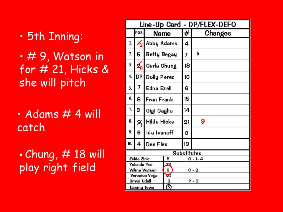 # 9, Watson in for # 21, Hicks & she will pitch