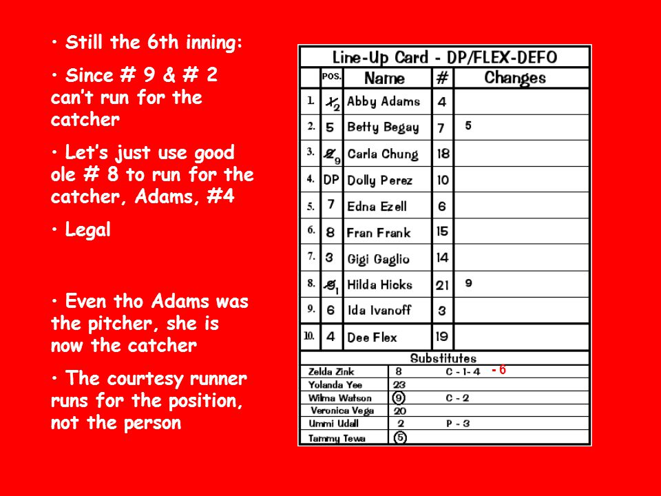 Since # 9 & # 2 can't run for the catcher