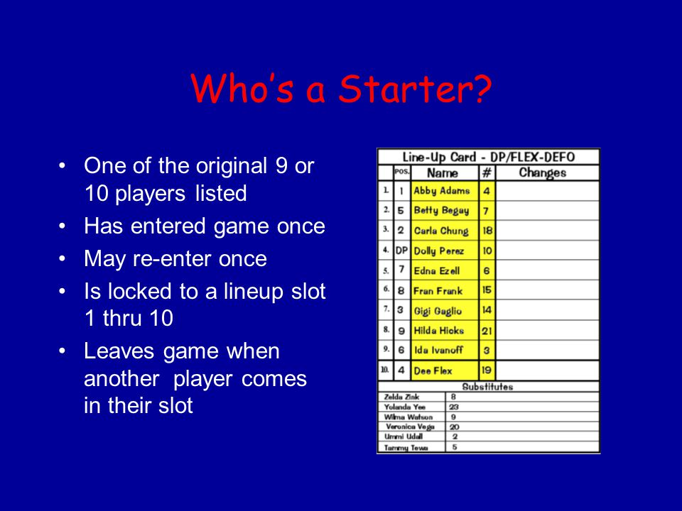 Who's a Starter One of the original 9 or 10 players listed