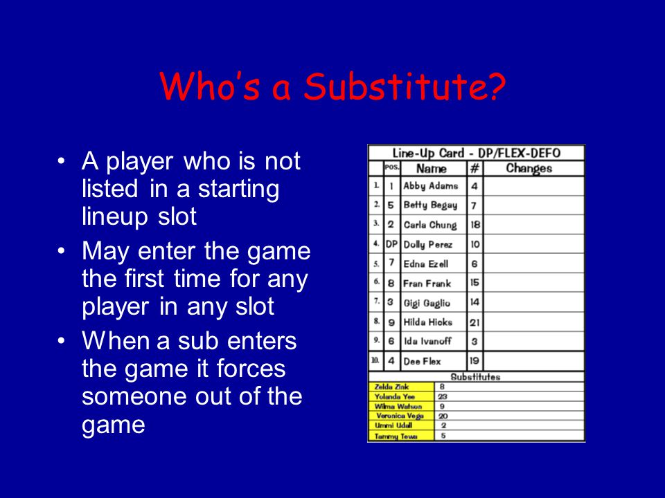 Who's a Substitute A player who is not listed in a starting lineup slot. May enter the game the first time for any player in any slot.