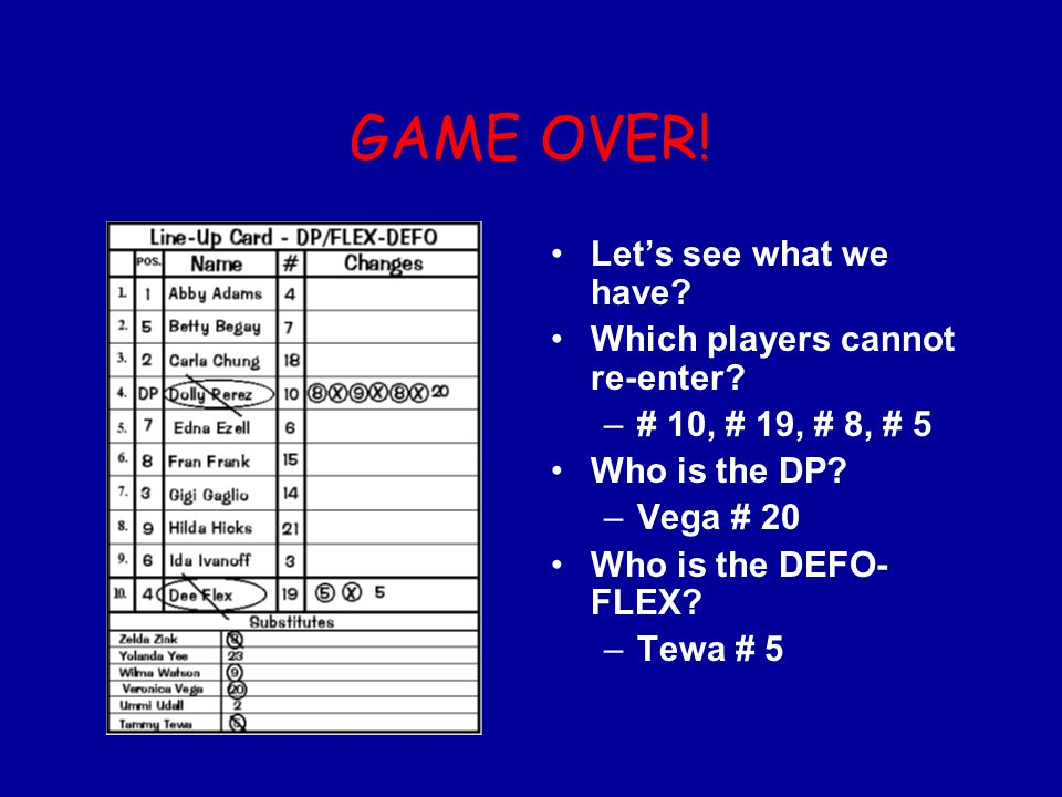 GAME OVER! Let's see what we have Which players cannot re-enter