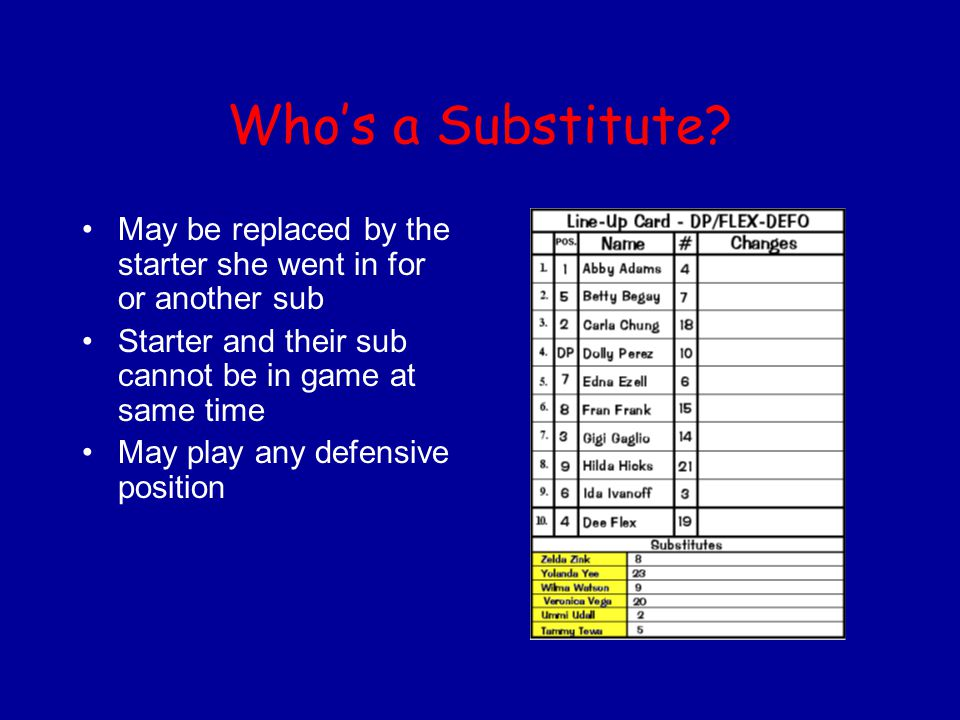 Who's a Substitute May be replaced by the starter she went in for or another sub. Starter and their sub cannot be in game at same time.