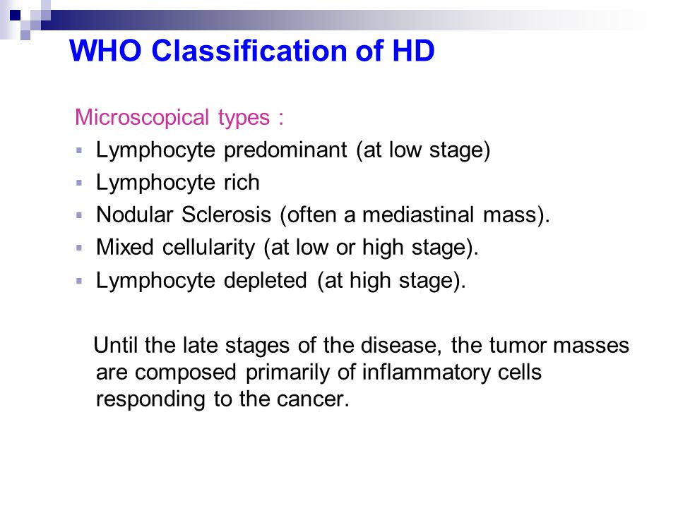WHO Classification of HD