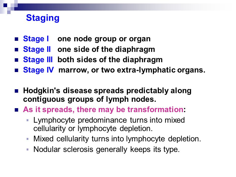 Staging Stage I one node group or organ