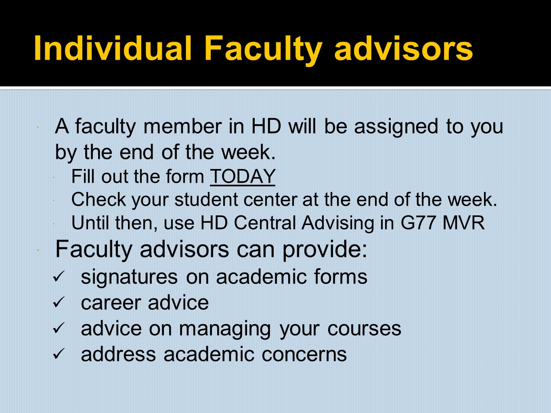 Individual Faculty advisors