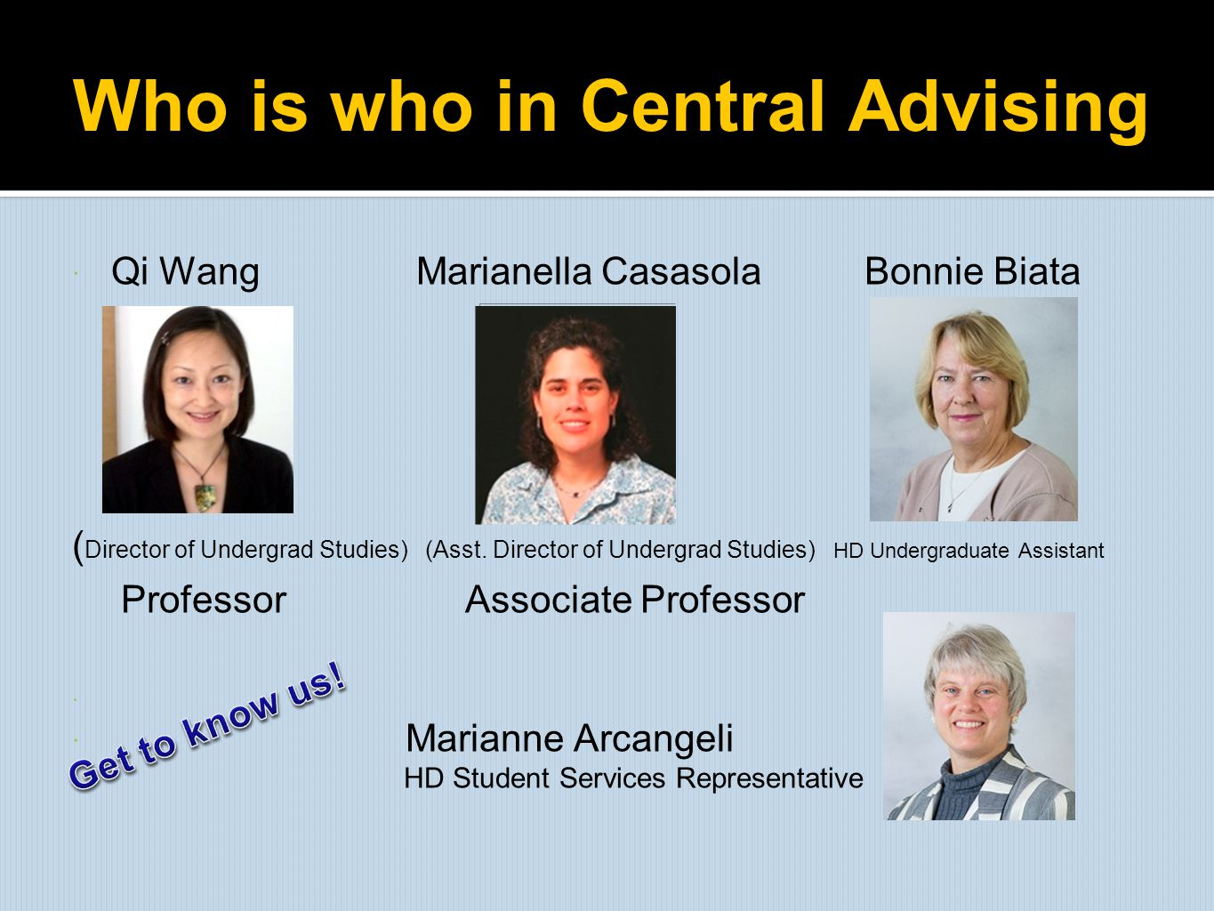 Who is who in Central Advising