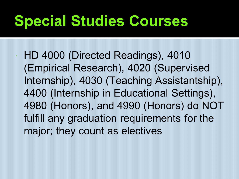 Special Studies Courses