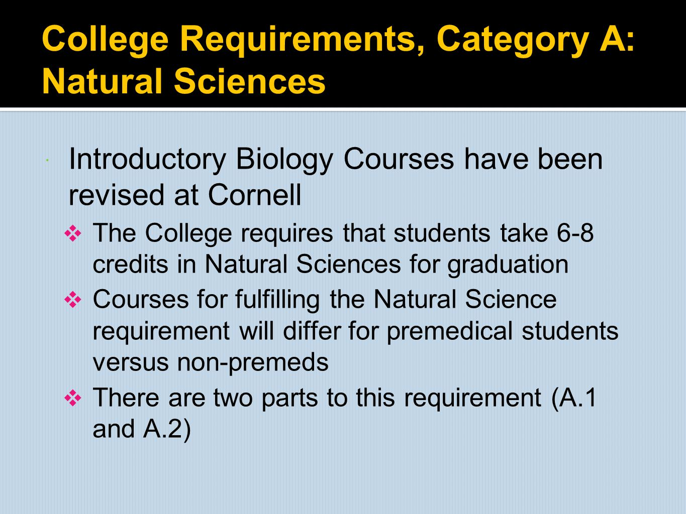 College Requirements, Category A: Natural Sciences