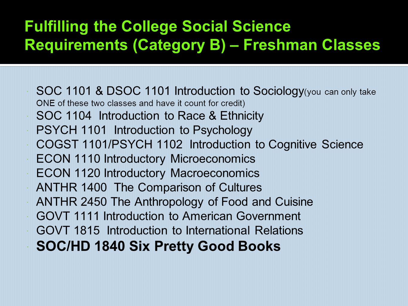 Fulfilling the College Social Science Requirements (Category B) – Freshman Classes