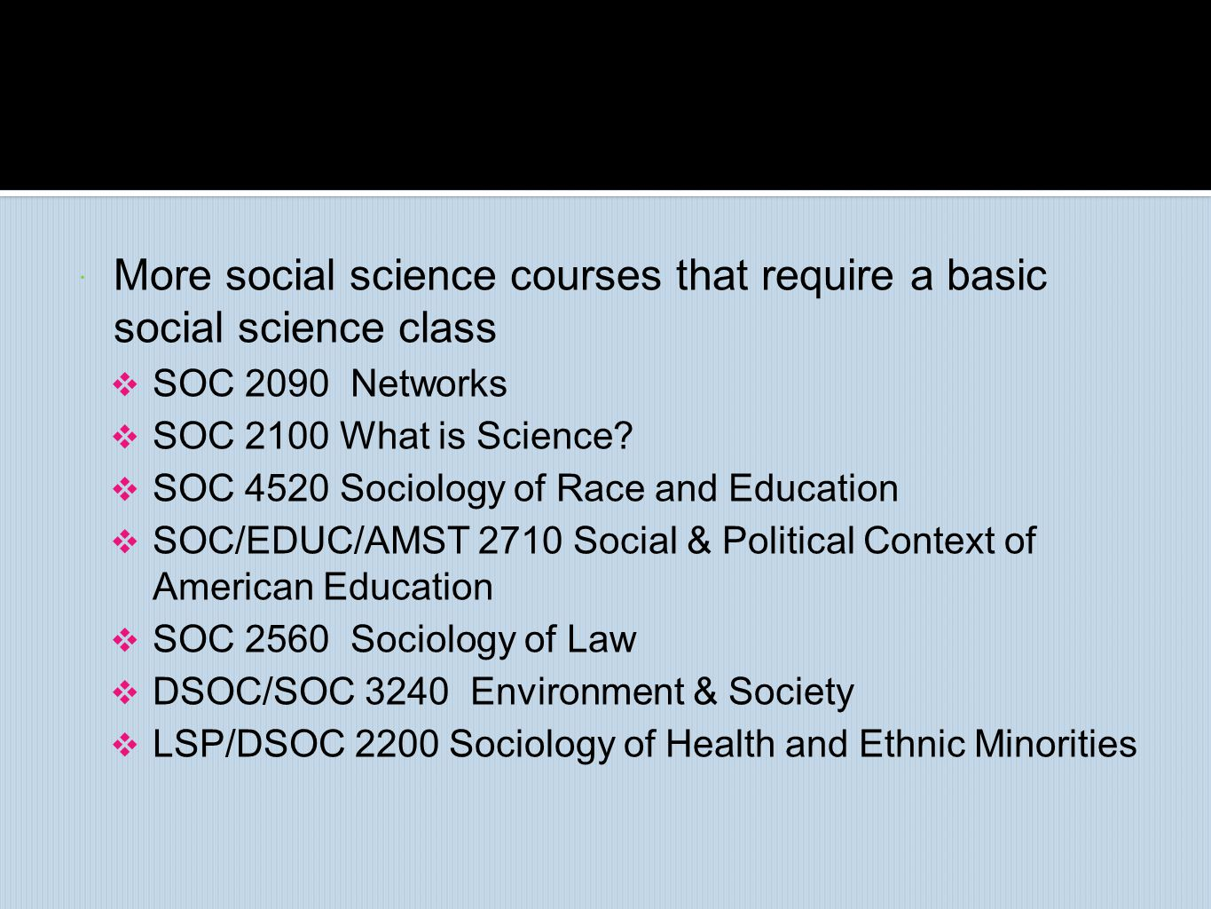 More social science courses that require a basic social science class