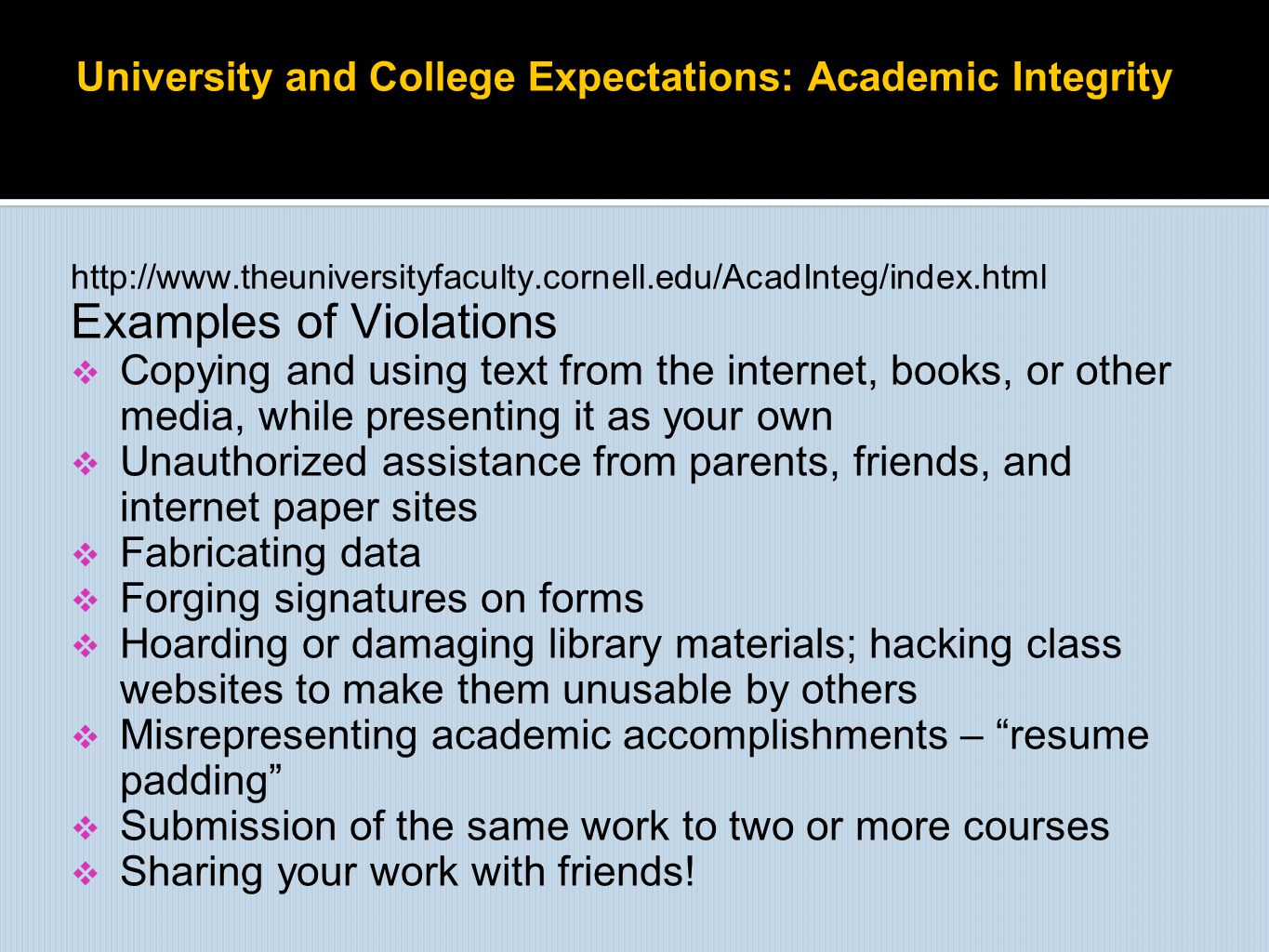 University and College Expectations: Academic Integrity
