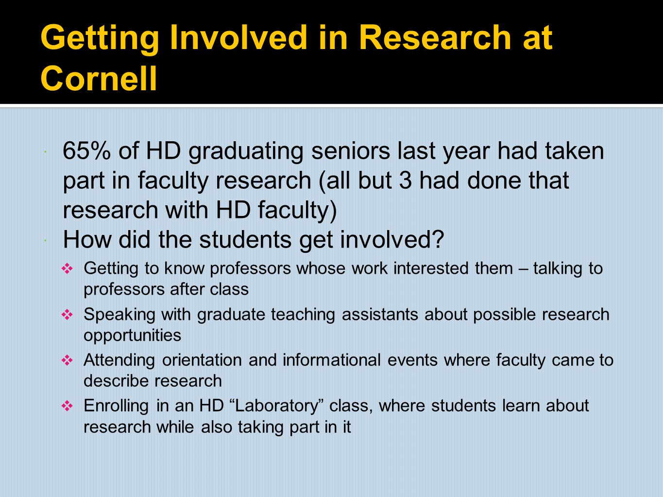 Getting Involved in Research at Cornell