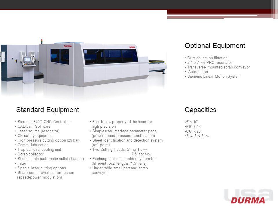 Optional Equipment Standard Equipment Capacities