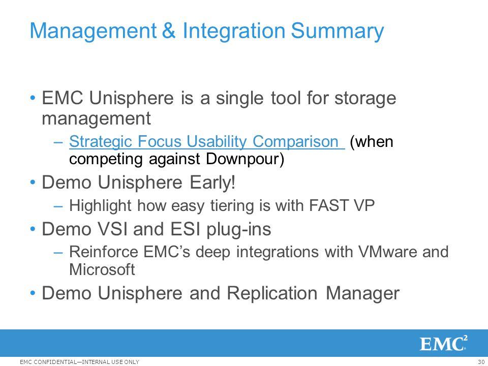 Management & Integration Summary