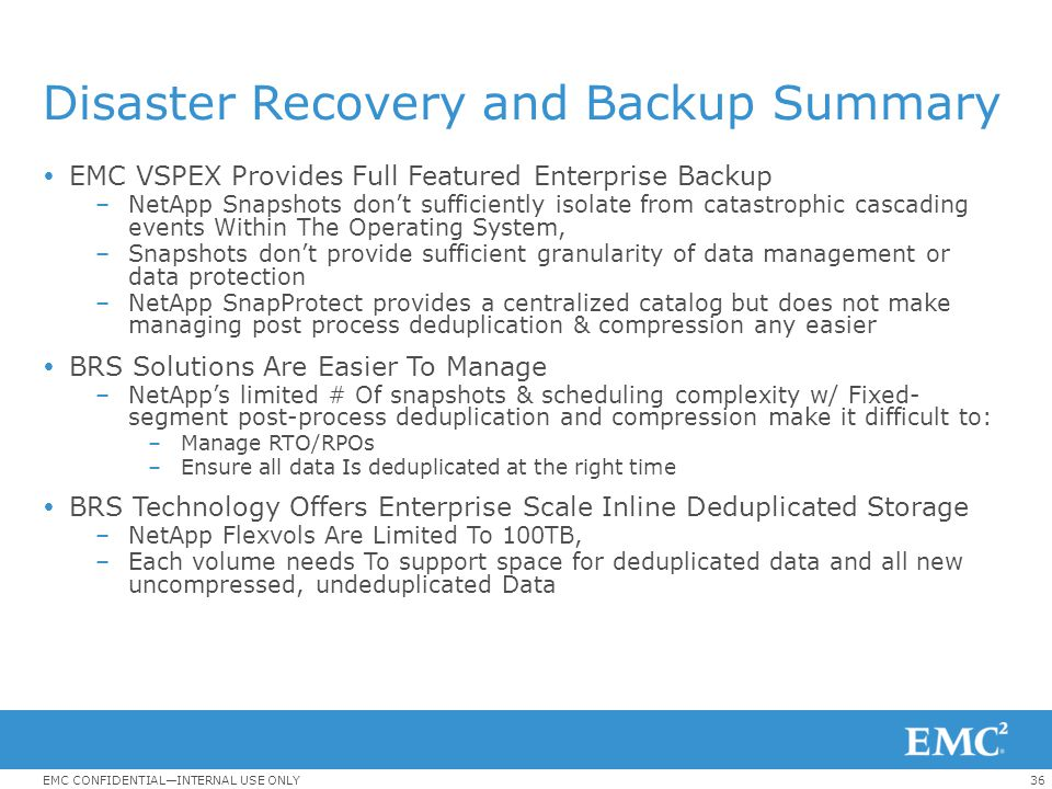 Disaster Recovery and Backup Summary