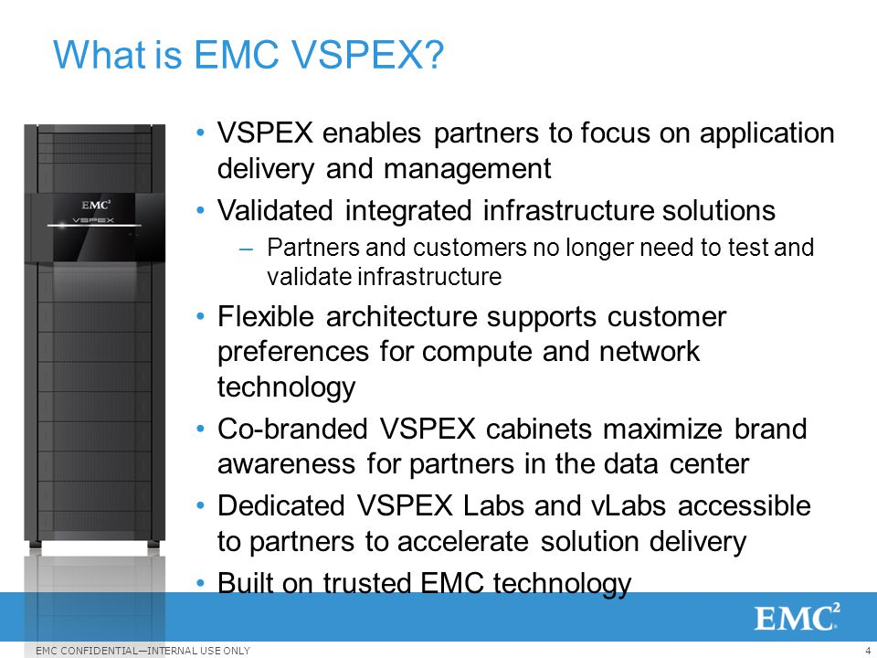 What is EMC VSPEX VSPEX enables partners to focus on application delivery and management. Validated integrated infrastructure solutions.