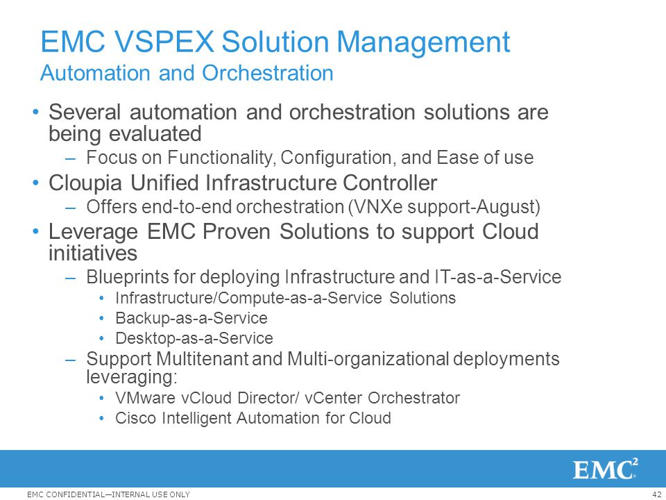 EMC VSPEX Solution Management Automation and Orchestration