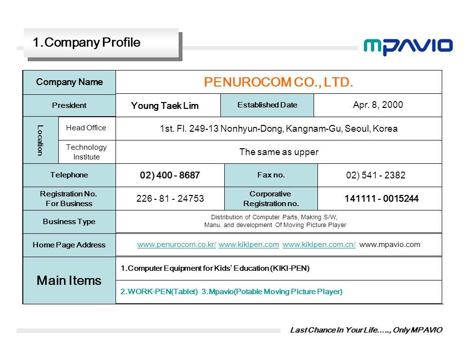PENUROCOM CO., LTD. Main Items