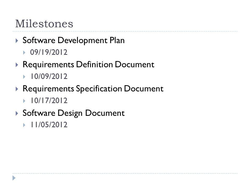 Milestones Software Development Plan Requirements Definition Document