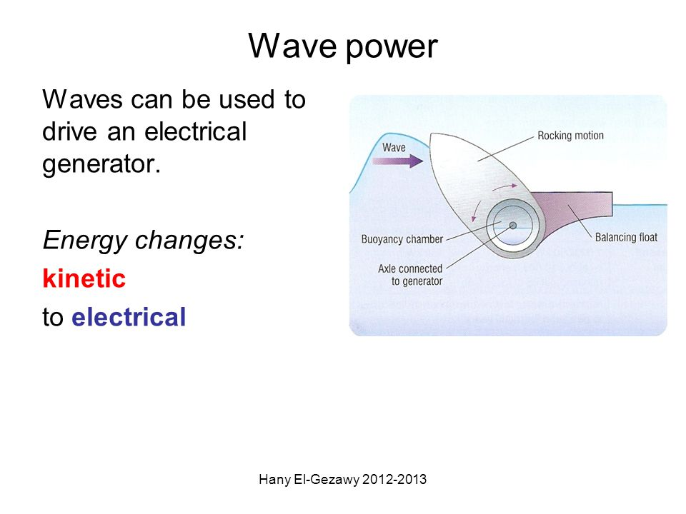 Wave power Waves can be used to drive an electrical generator.