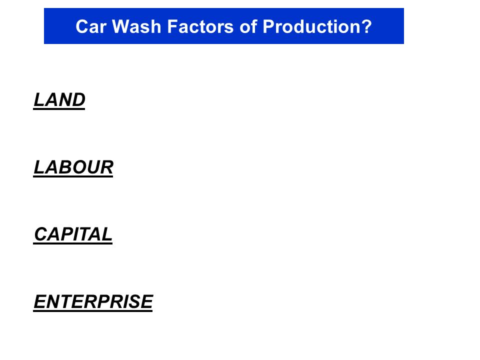 Car Wash Factors of Production