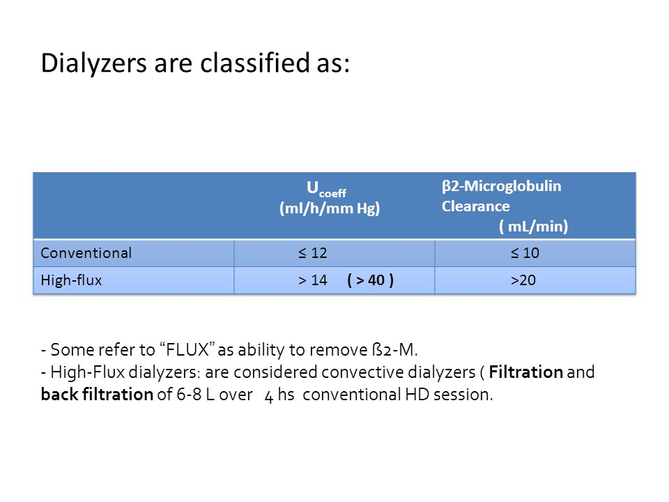 Dialyzers are classified as: