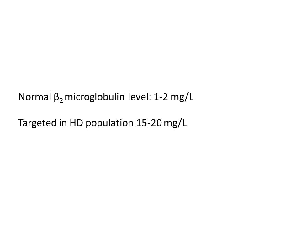 Normal β2 microglobulin level: 1-2 mg/L Targeted in HD population 15-20 mg/L