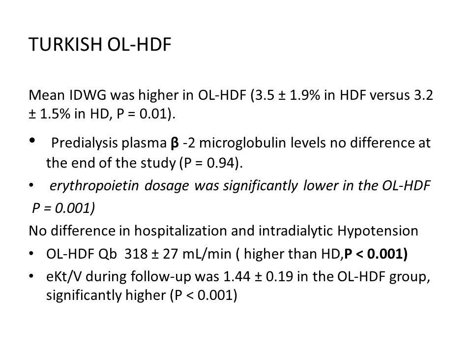 TURKISH OL-HDF Mean IDWG was higher in OL-HDF (3.5 ± 1.9% in HDF versus 3.2 ± 1.5% in HD, P = 0.01).