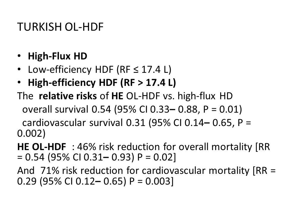 TURKISH OL-HDF High-Flux HD Low-efficiency HDF (RF ≤ 17.4 L)