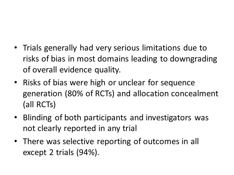 Trials generally had very serious limitations due to risks of bias in most domains leading to downgrading of overall evidence quality.