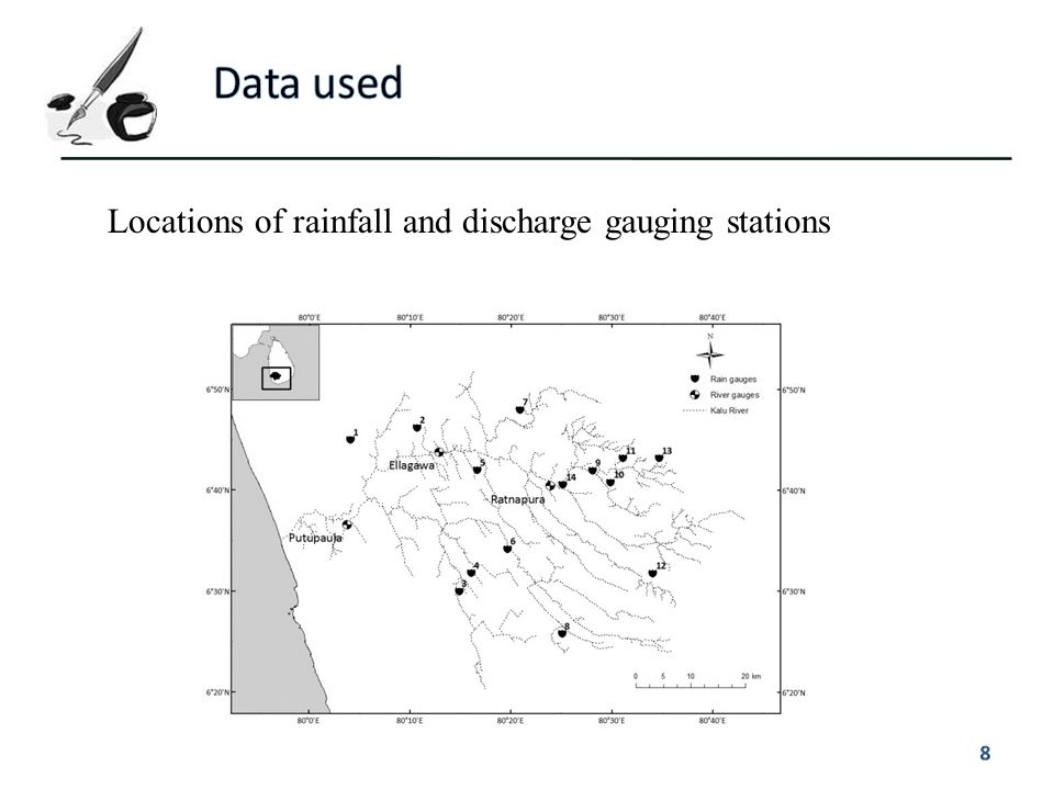 Data used Locations of rainfall and discharge gauging stations