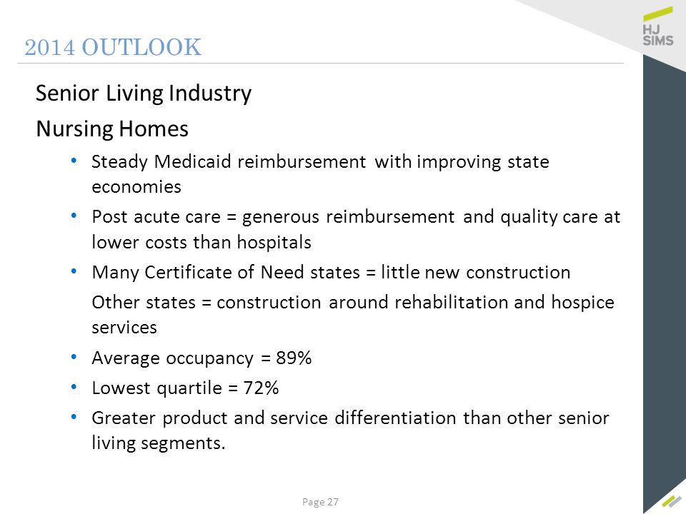 Summary 2014 OUTLOOK The senior living market remains strong