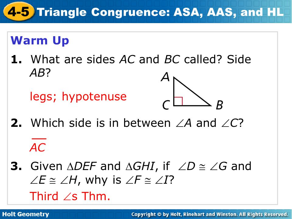 Warm Up 1. What are sides AC and BC called Side AB 2. Which side is in between A and C