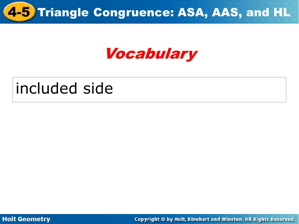 Vocabulary included side