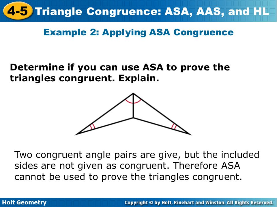 Example 2: Applying ASA Congruence