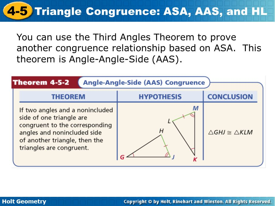 You can use the Third Angles Theorem to prove another congruence relationship based on ASA.