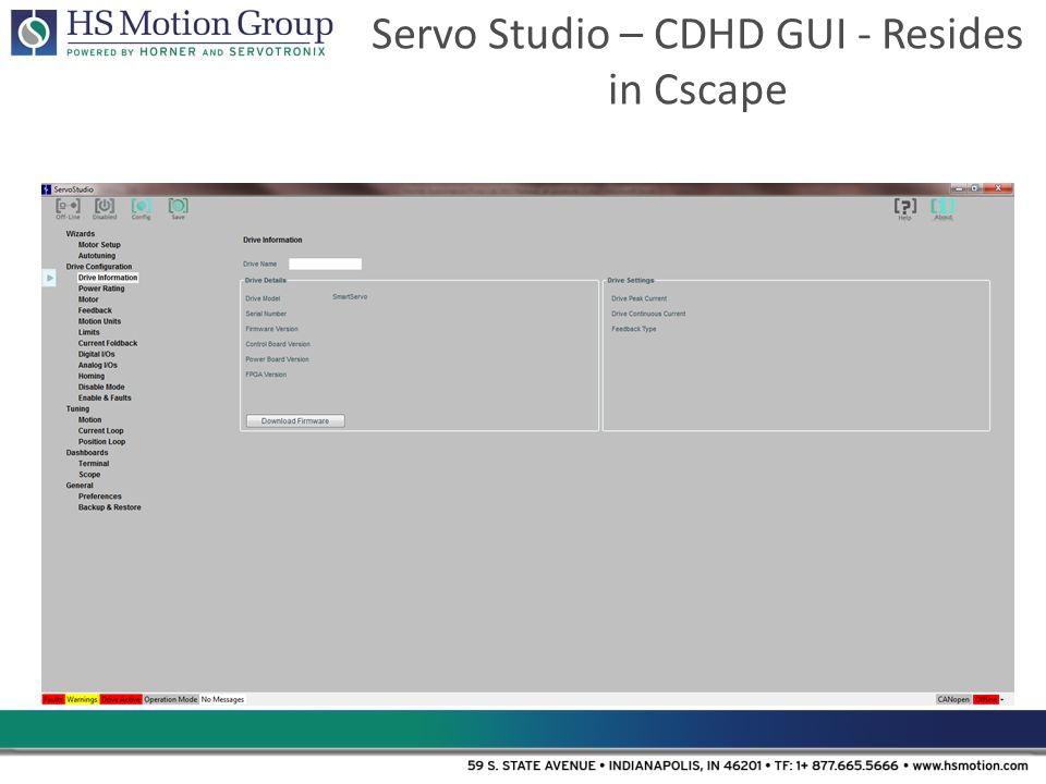 Servo Studio – CDHD GUI - Resides in Cscape