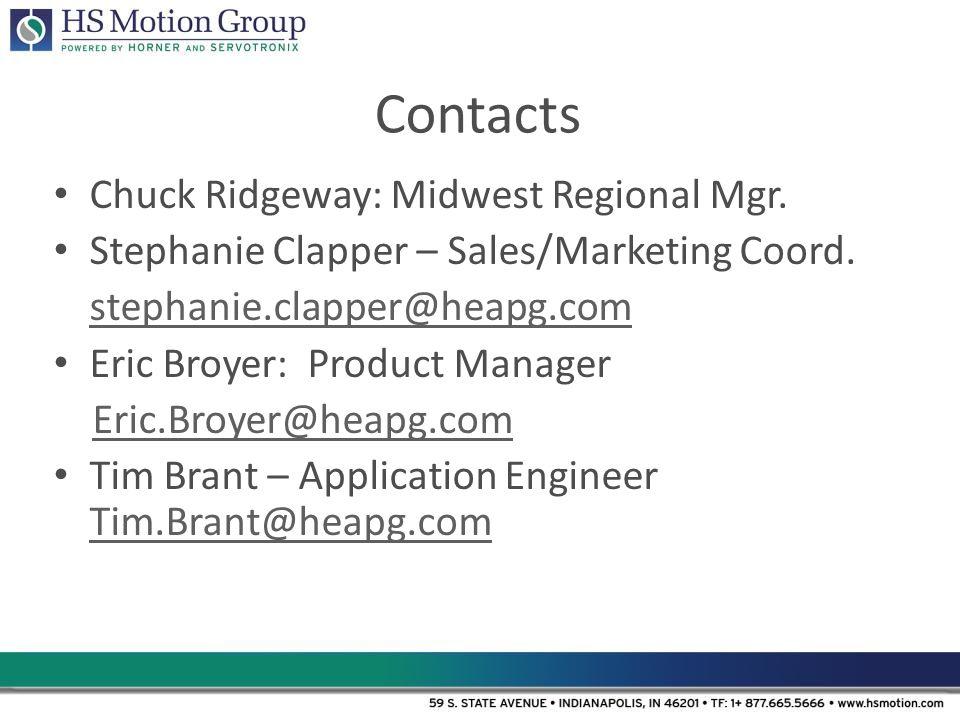 Contacts Chuck Ridgeway: Midwest Regional Mgr.