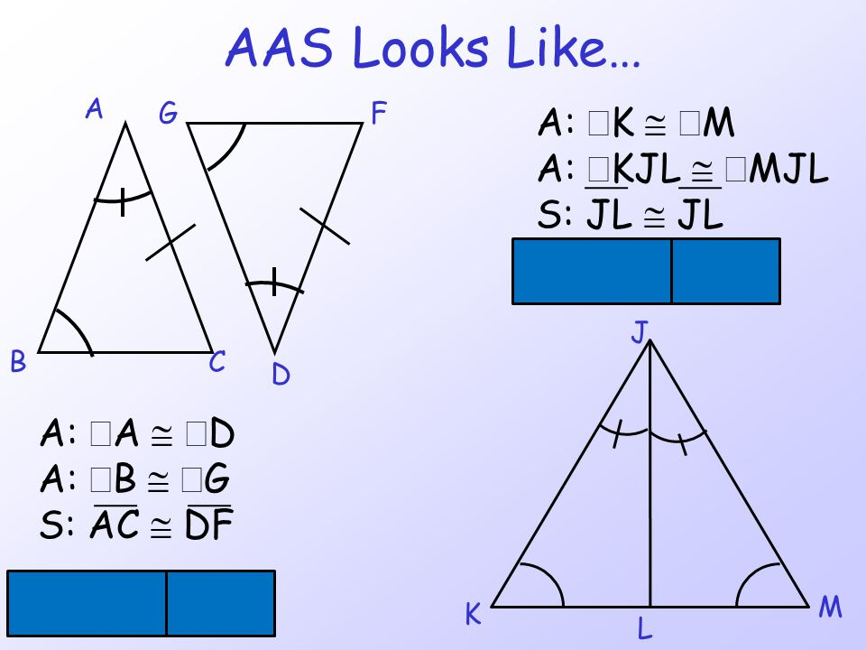 AAS Looks Like… A: ÐK @ ÐM A: ÐKJL @ ÐMJL S: JL @ JL DJKL @ DJML