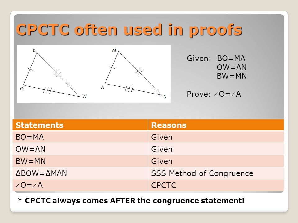 CPCTC often used in proofs