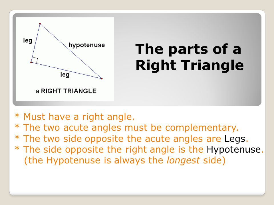 The parts of a Right Triangle * Must have a right angle.